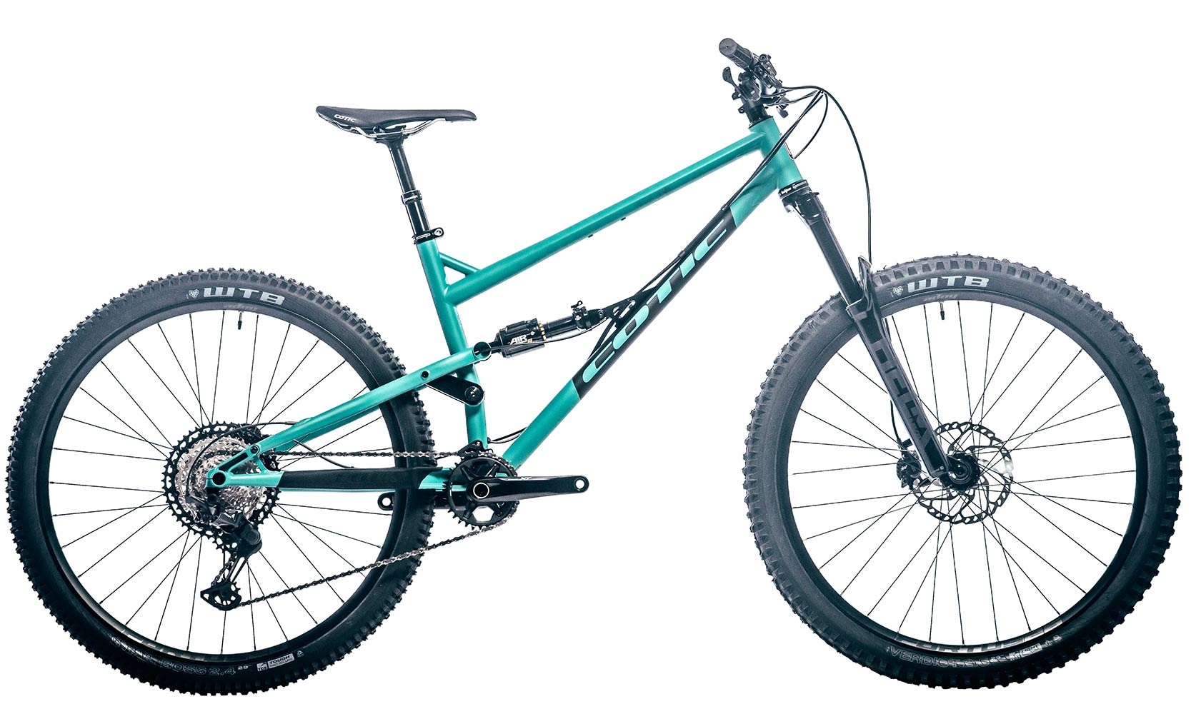 Cotic Jeht in Matte Teal, steel full suspension mountain bike, 29 mountain bike, 140mm travel, uk made, british made, made in britain, reynolds 853, long geometry